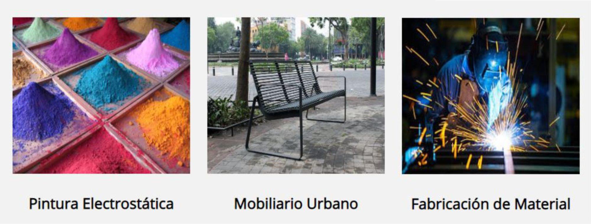 mobiliario urbano, soldadura y pailería